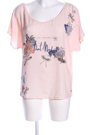 edc V-Ausschnitt-Shirt pink-grün Blumenmuster Casual-Look