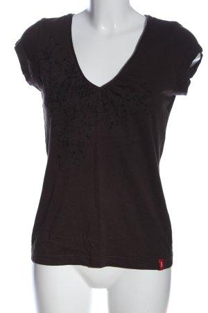 edc V-hals shirt bruin prints met een thema casual uitstraling