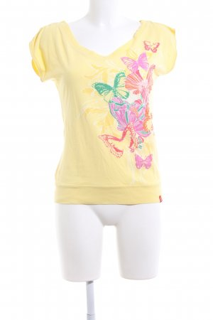 edc V-Ausschnitt-Shirt Motivdruck Casual-Look
