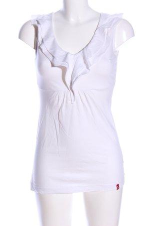 edc V-Ausschnitt-Shirt weiß Casual-Look