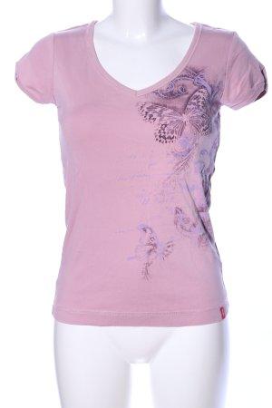 edc T-shirt col en V rose-violet imprimé avec thème style décontracté