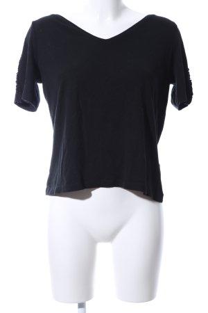 edc V-Ausschnitt-Shirt schwarz Casual-Look
