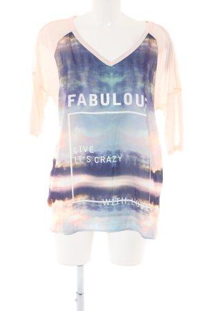 edc T-shirt col en V imprimé avec thème style décontracté