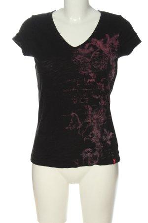 edc V-Ausschnitt-Shirt schwarz-pink Motivdruck Casual-Look