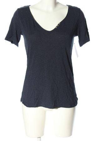 edc V-Ausschnitt-Shirt blau meliert Casual-Look