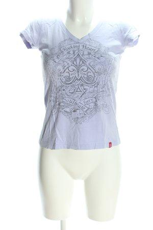 edc V-Ausschnitt-Shirt hellgrau-schwarz Motivdruck Casual-Look