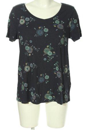 edc V-Ausschnitt-Shirt Allover-Druck Casual-Look