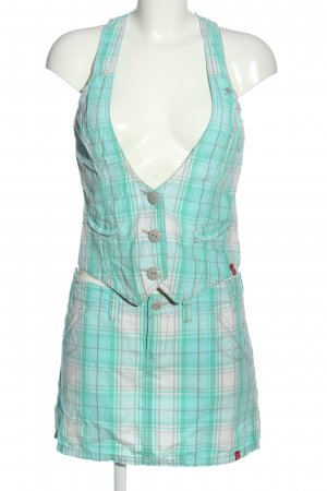 edc Woven Twin Set turquoise-white check pattern casual look