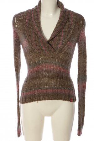 edc Zopfpullover braun-pink Streifenmuster Casual-Look