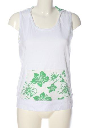 Eddie Bauer Smanicato con cappuccio bianco-verde motivo floreale stile casual