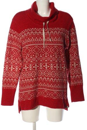 Eddie Bauer Jersey estilo Noruego rojo-blanco estampado gráfico look casual