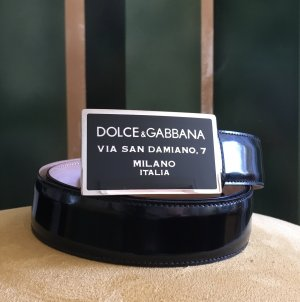 Dolce & Gabbana Skórzany pasek czarny-srebrny