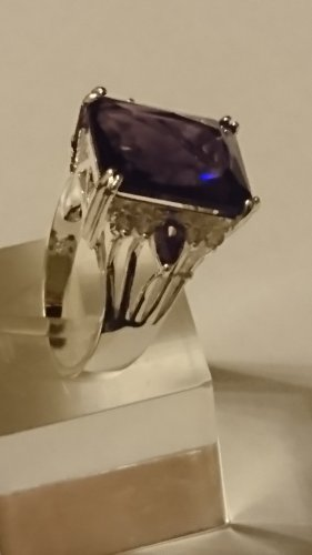 Edel ausdrucksvoller  Silber Amethyst Ring  mit Zirkonia Steine Gr.20