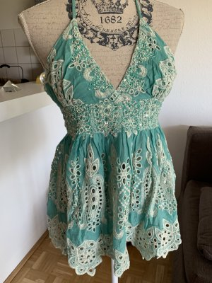 Antica Sartoria Crochet Top white-turquoise cotton