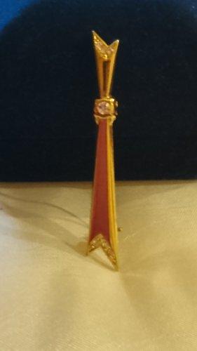 Edel Brosche Goldfarbe mit Zirkonia Steinchen
