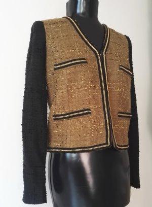 Edel Damen Jacke / Blazer in Kiwi/Scharz mit Kette in Gold aufgenäht von MANGO Gr. M w.Neu