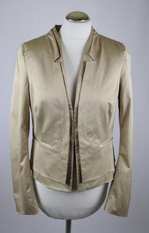 Edel Designer Glanz Satin Blazer Jacke Rene`Lezard Größe 40 M Beige Goldfarben V- Neck Business