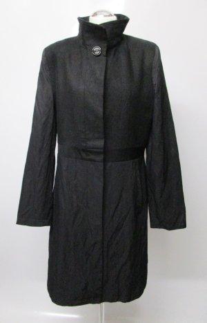 Edel Materialmix Mantel DEFENDO Größe M 40 Schwarz Trenchcoat Übergangsmantel Stehkragen