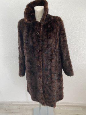 Kürschner Arbeit Abrigo de piel marrón-negro