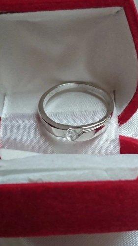 Edel Silber Ring 925 mit Zirkonia Stein Gr. 20