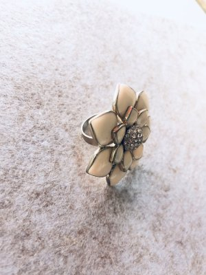 Edel Statement ring xxl Blume beige romantisch Emaille Strass