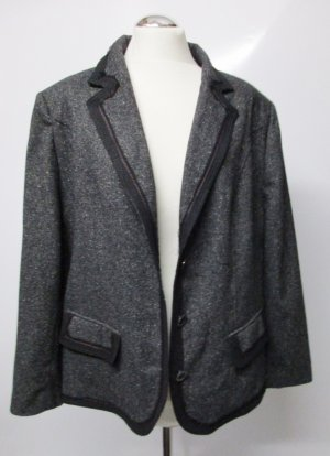 Edel Tweed Blazer Marcona Größe 46 XXL Salt n Pepper Schwarz Grau Rot Wolle Seide Jacke