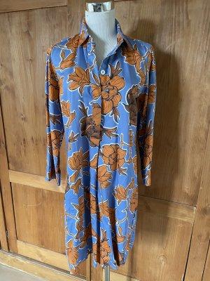 unbekannte Abito blusa camicia blu fiordaliso-arancione scuro