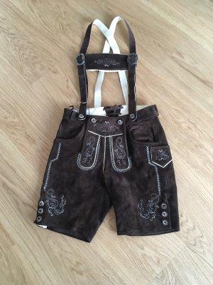 Edelnice Pantalone in pelle tradizionale marrone scuro-crema