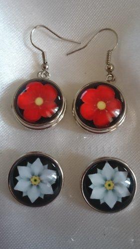 Edelstahl Ohrringe mit 4 Druckknöpfe Blume Wechselschmuck