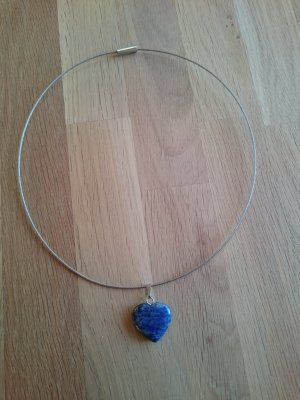 Collier Necklace cornflower blue-silver-colored stainless steel