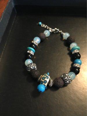 Handmade with Love Pearl Bracelet black-cornflower blue