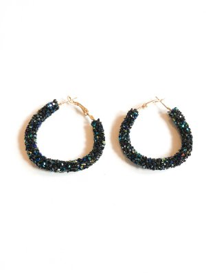 Ear Hoops gold-colored-dark blue