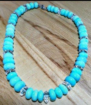 Edelstein Kette blauer Opal und Bergkristall