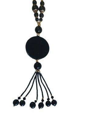Edelsteinkette schwarz Damen Kette