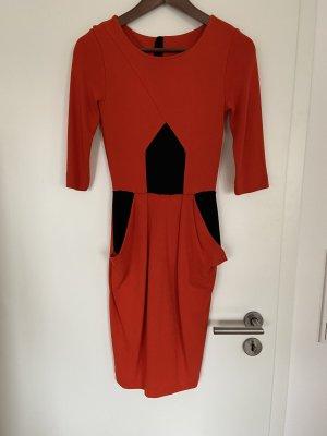 Edgy Orange Schwarz Kleid von French Connection Größe 36 mit Taschen