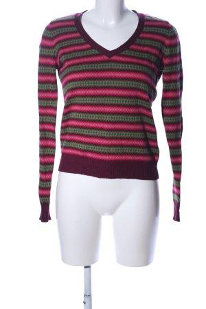 Edina Ronay V-Ausschnitt-Pullover pink-grün grafisches Muster Casual-Look