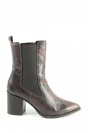 Edited Ankle Boots braun-schwarz Animalmuster Casual-Look