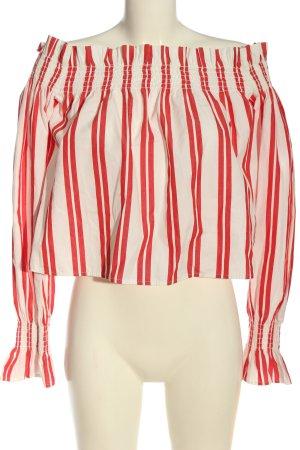 Edited Bluzka typu carmen biały-czerwony Wzór w paski W stylu casual