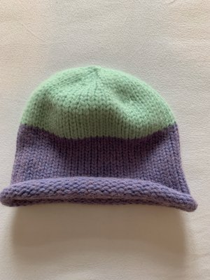 Edited Knitted Hat turquoise-lilac wool