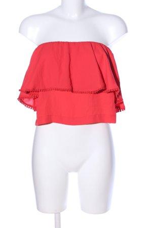 Edited Top sin hombros rojo elegante