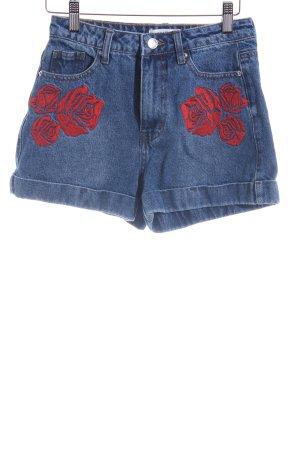 Edited Shorts himmelblau-rot Jeans-Optik