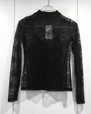 Edited Blusa de encaje negro
