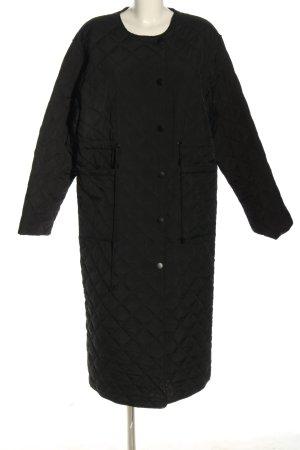 Edited Pikowany płaszcz czarny Pikowany wzór W stylu casual
