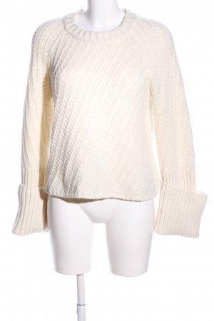 Edited Strickpullover wollweiß Zopfmuster Casual-Look