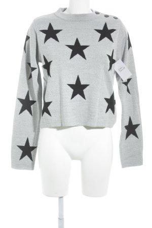 Edited Sweatshirt schwarz-hellgrau Sternenmuster Casual-Look