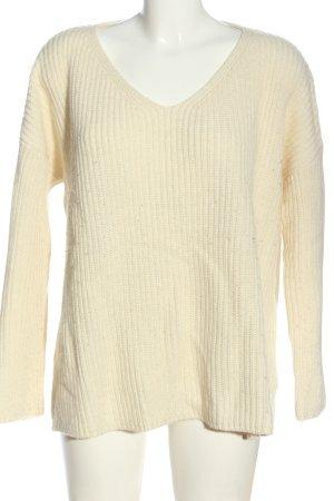 Edited V-Ausschnitt-Pullover creme Casual-Look