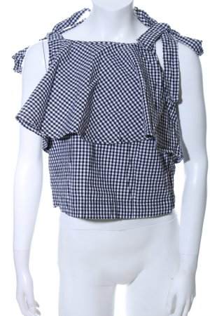 Edited Flounce Top black-white check pattern casual look