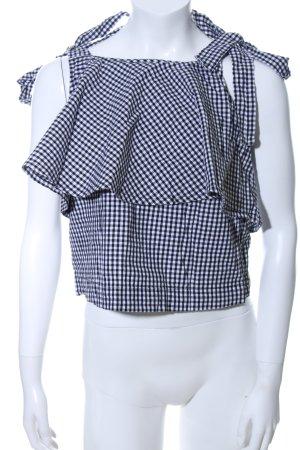 Edited Top con balze nero-bianco motivo a quadri stile casual