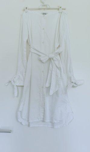 Edited weiß Schulterfrei Minikleid mit Binde in Taille Gr.34 XS aus Baumwolle neu