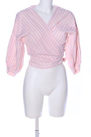 Edited Blusa cruzada rosa-blanco estampado a rayas look casual